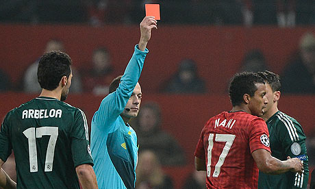Nai was controversially sent off against Real Madrid soucre: guardian.co.uk