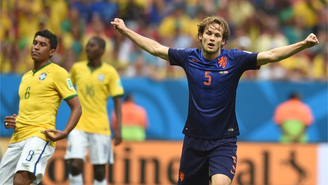 Daley Blind scored his first ever international goal against Brazil image: bbc.co.uk