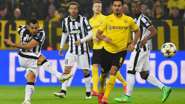 Carlos Tevez inspired Juventus to a 3-0 win at Dortmund image: rte.ie