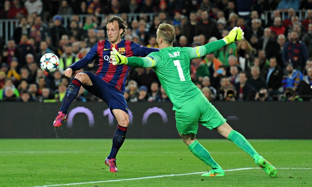Ivan Rakitic scored the onyl goal at the nOu Camp as Barcelona advance 3-1 on aggregate image: theguardian.com