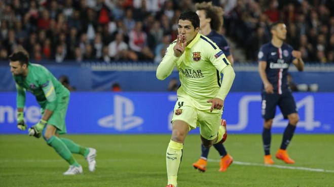 Luis Suarez scored a brace in Barcelona's 3-1 win at PSG image: eurosport.com