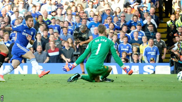 Eden Hazard scored his 13th league goal of the season as Chelsea edge closer to the title image: bbc.co.uk