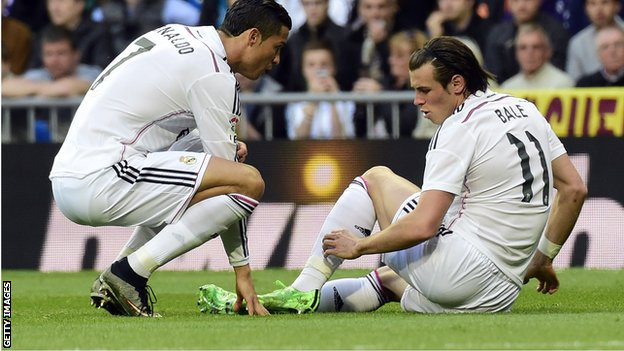 Garteh Bale was forced off agter just four minutes in Real's win over Malaga at the weekend image: bbc.co.uk