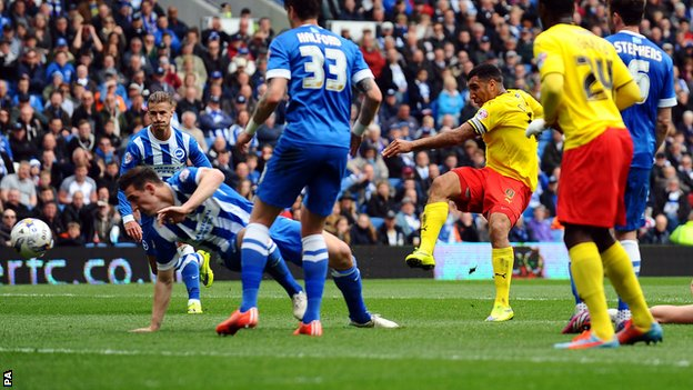 Troy Deeney's opener helped Watford to a 2-0 win over Brighton image: bbc.co.uk