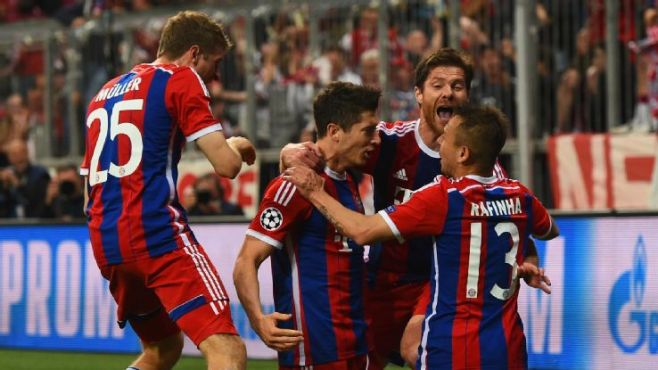 Bayern have now scored 13 goals in their last two Champions League home games image: espnfc.com