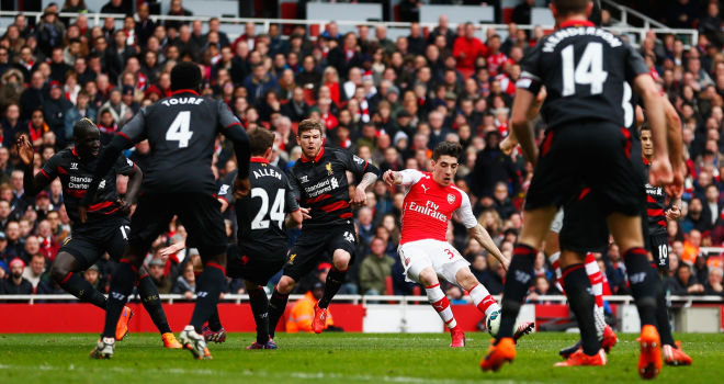 Hector Bellerin scored the opener as Arsenal thrashed Liverpool 4-1 image: skysports.com