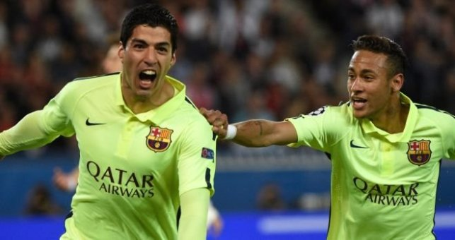 Luis Suarez and Neymar give Barcelona a 3-1 advantage from the first leg image: skysports.com