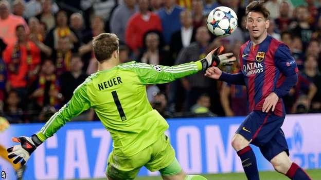 Lionel Messi scored twice as Barcelona will take a 3-0 lead to Munich image: bbc.co.uk
