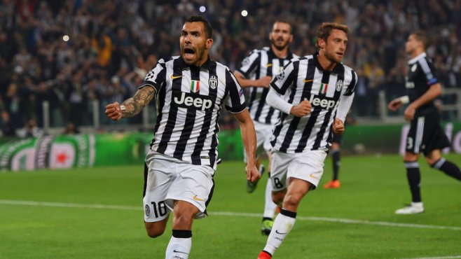 Calros Tevez penalty gives Juventus a slender lead ahead of the second leg image: skysports.com