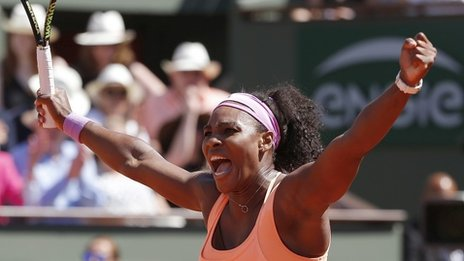 Serena Williams won her third French Open title and 20th grandslam image: bbc.co.uk