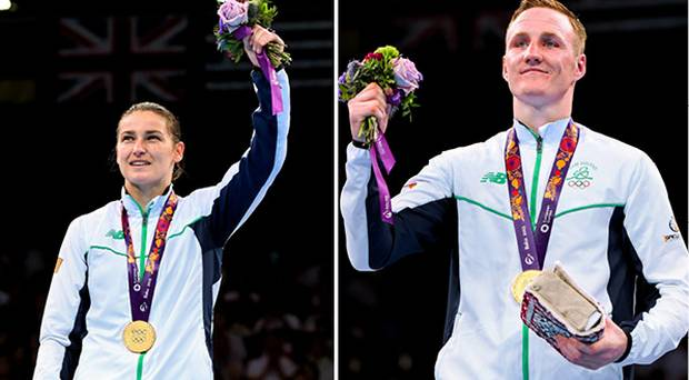 Katie Taylor (l) and Michael O'Reilly took home gold medals for Ireland in Baku image independent.ie