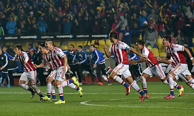 Paraguay celebrate their shoot-out win over Brazil image: theguardian.com