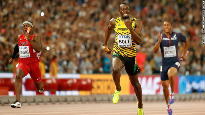 Usain Bolt helped Jamaica to victory in the 4x100 relay image: edition.cnn.com