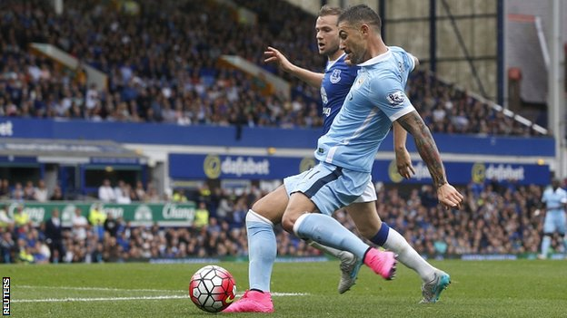 Alexsandar Kolarov scored in Man City's 2-0 win over Everton image: bbc.com