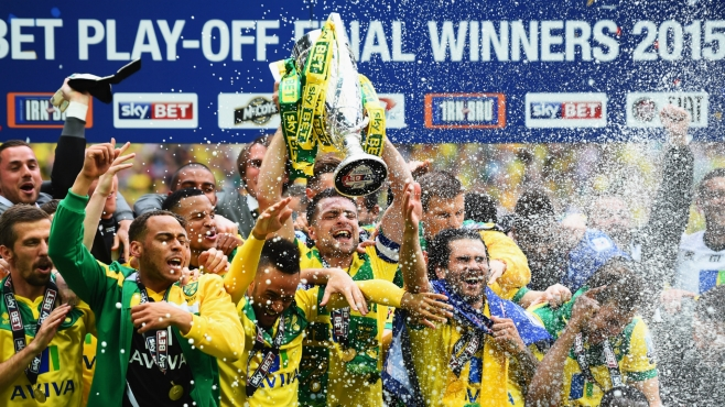 Norwich bounced straight back after relegation in May 2014 image: skysports.com