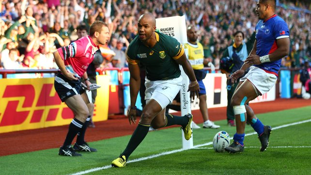 JP Pietersen scored a hat-trick of tries in South Africa's demolition of Samoa image: rte.ie