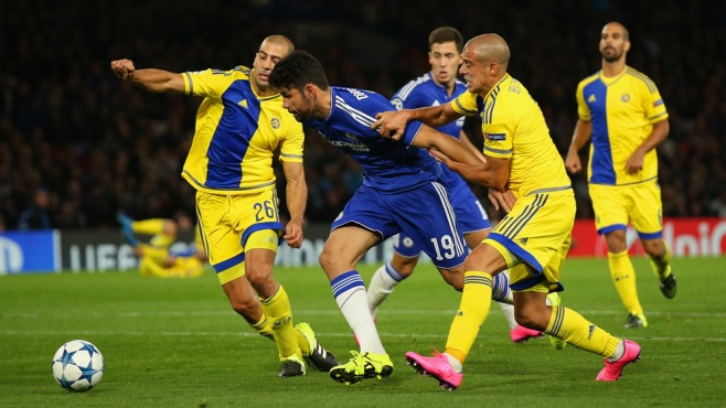 Diego Costa is available for Chelsea as his three-match ban does not apply to European fixtures image: uefa.com