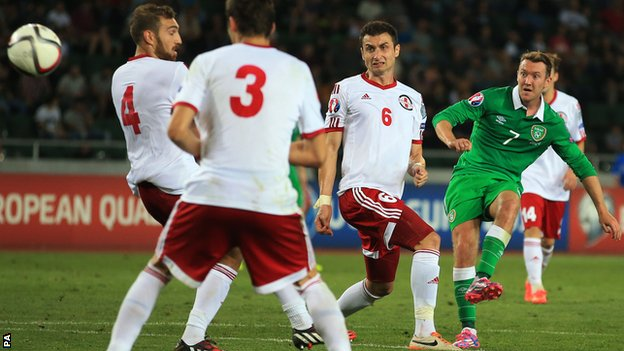 Aiden McGeady saved Ireland's blushes with a 2-1 win in Georgia image: bbc.com