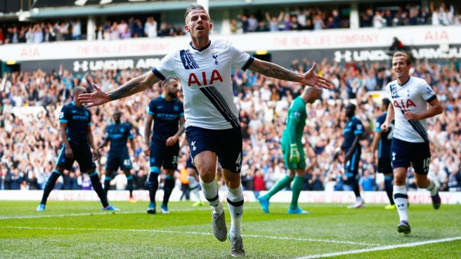 Toby Alderweireld scored his first Spurs goal in thier 4-1 win over Man City image: espn.co.uk