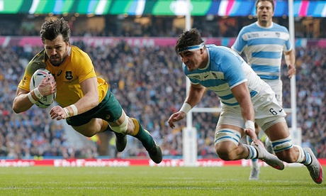 Adam Ashely-Cooper's hat-trick helped Australia reach a fourth RWC final image: theguardian.com
