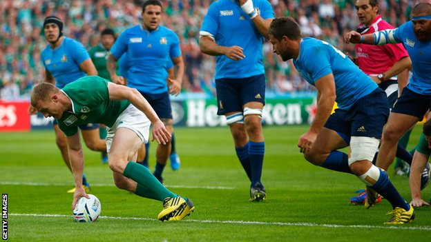 Keith Earls scored the only try in Ireland's seven point win over Italy image: bbc.com