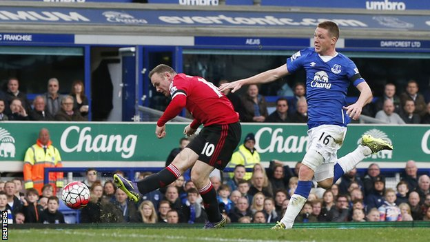 Wayne Rooney scores Man United's third goal against former club Everton image: bbc.com