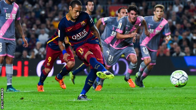Neymar scored four in Barcelona's 5-2 win over Rayo at the weekend image: bbc.com