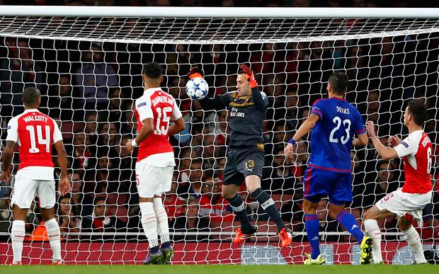 A David Ospina howler helped Olympiakos stun Arsenal image: telegrapgh.co.uk