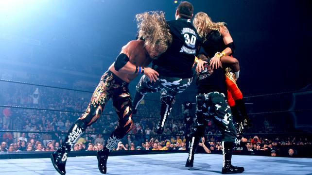 Edge denies the 3D with a spear to Bubba Ray Dudley image: todaysknockout.com