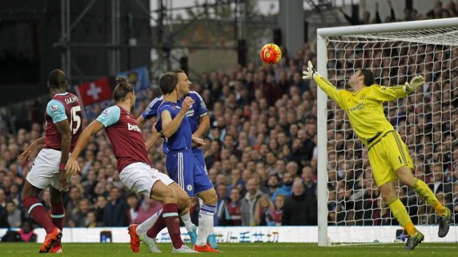 Andy Caroll heads home the winner for West Ham over Chelsea image: skysports.com