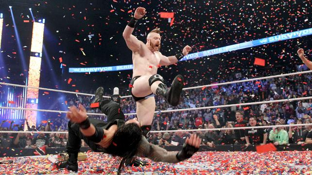 Sheamus nails Roman Reigns with a brogue kick and successfully cashes in Money in the Bank image: wwe.com