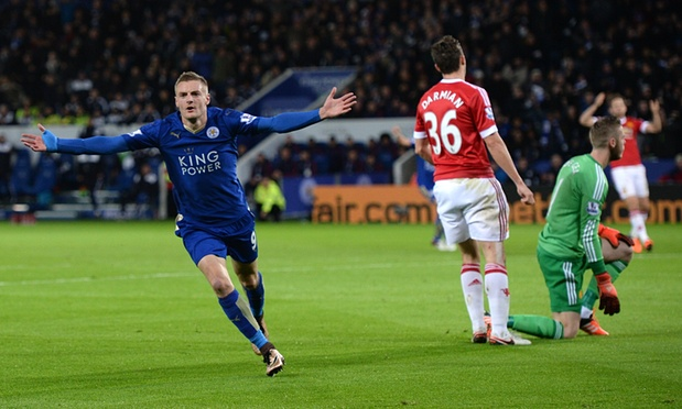 Jamie Vardy scored for the 11th game running as Leicester drew with Man Utd image; theguardian.com