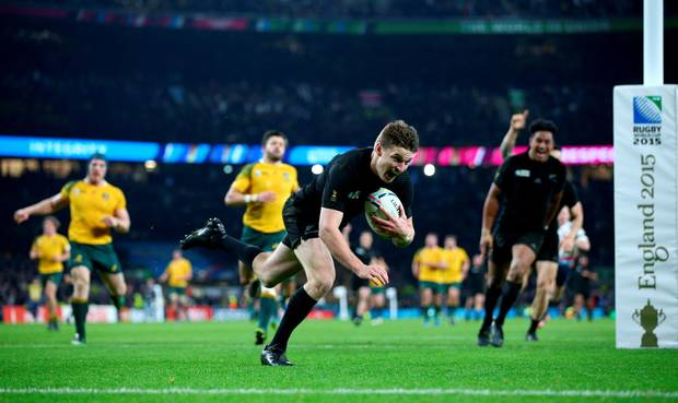 Beauden Barrett scored a third try in the dying minutes to fend off an Australian comeback image: belfasttelegraph.co.uk