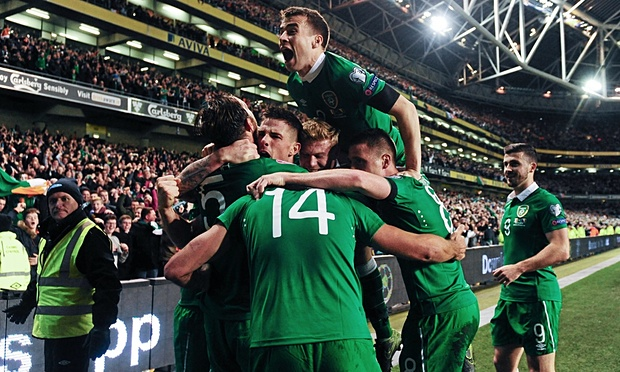 Ireland beat Bosnia 3-1 on aggregate to advance to Euro 2016 image: theguardian.com