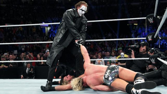 Sting pulled Dolph Ziggler onto Seth Rollins to score the win image: wwe.com