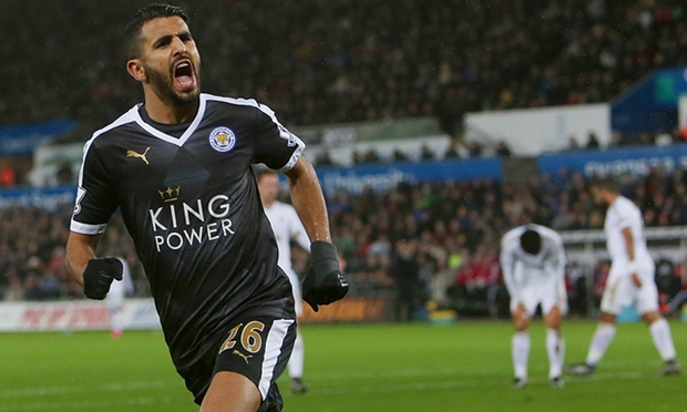 Riyad Mahrez became the first Algerian to score a Premier League hat-trick image: theguardian.com