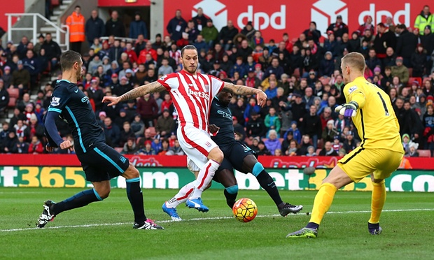Marko Arnautovic's brace helped Stoke to victory over Man City image: theguardian.com