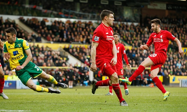 Adam Lallana's 95th strike saw Liverpool snatch all three points from Norwich image: theguardian.com
