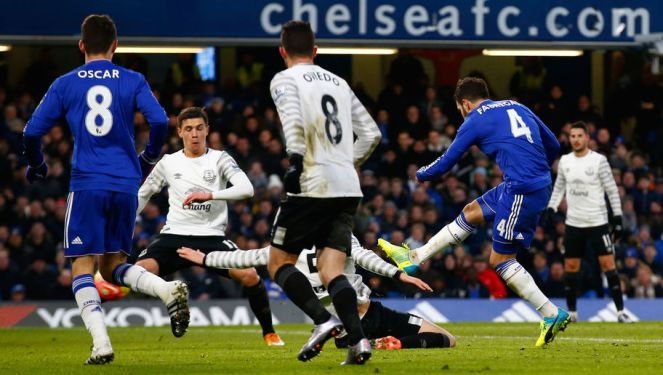 Cesc Fabregas scored his first home Premier League goal for Chelsea in the 3-3 draw with Everton image: 90min.com