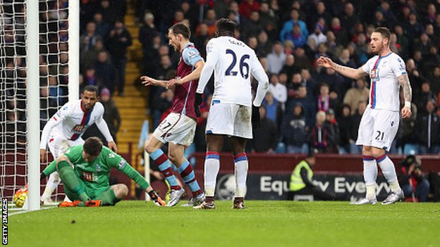 A Wayne Hennessey error gifted Aston Villa just their second win of the season image: bbc.co.uk