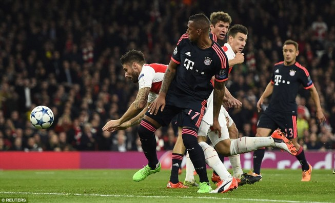 Arsenal's 2-0 win over Bayern was one of just three wins in the group stages image: dailymail.co.uk