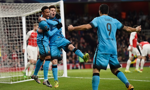 Lionel Messi's brace puts Barcelona in a strong position to reach the quarter-finals image: theguardian.com