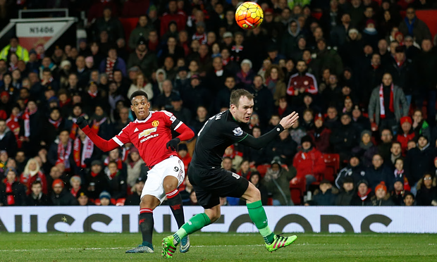 Anthony Martial scored his ninth goal of the season in Man United's 3-0 win over Stoke image: theguardian.com