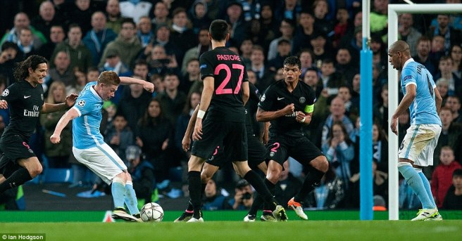 Kevin De Bruyne's second leg goal put Man City through to the semi finals image: dailymail.co.uk