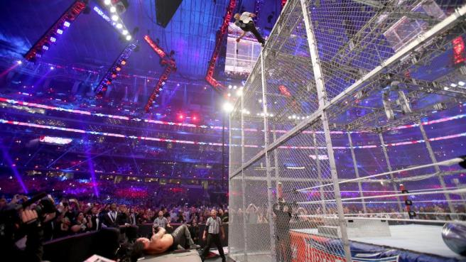 Shane Mc Mahon missed with an elbow drop off the top of the cell image: wwe.com