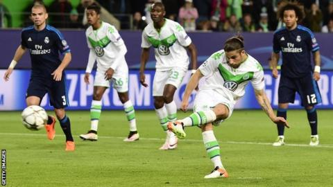 Ricardo Rodriguez scores from the penalty spot in Wolfsburg's shock win over Real Madrid image: bbc.com