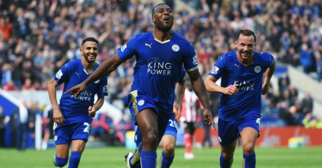 Wes Morgan's first goal of the season saw Leicetse rbeat Southampton image: fottball365.com
