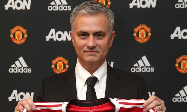Jose Mourinho becomes Man Utd'd third manager since Alex Ferguson retired in 2013 image: theguardian.com
