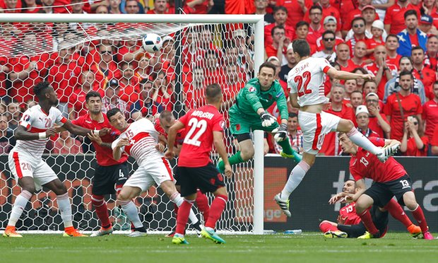 Fabian Schar's early header was enough for Switzerland to sink Albania image: theguardian.com