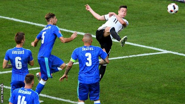 Julian Draxler scores Germany's third in an comfortable win over Slovakia image: bbc.com